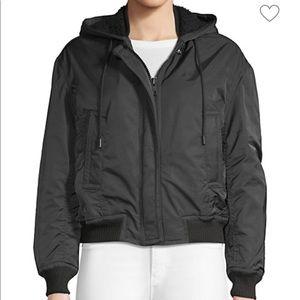 Vince Faux Fur Lined Hooded Bomber Jacket
